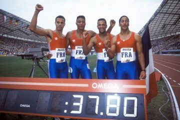 Jean-Charles Trouabal, Bruno Marie-Rose, Daniel Sangouma et Max Morinière (de gauche à droite) l'emportent en 37''79 / Photo Christian Rochard