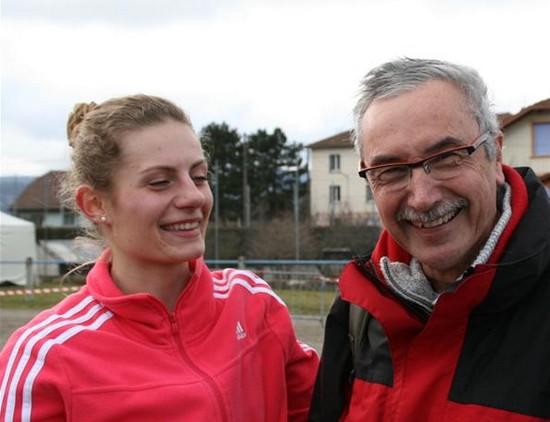 Carole Taponard avec son coach Daniel Paillard / Photo de  Serge Rapy, correspondant au « Progrès »