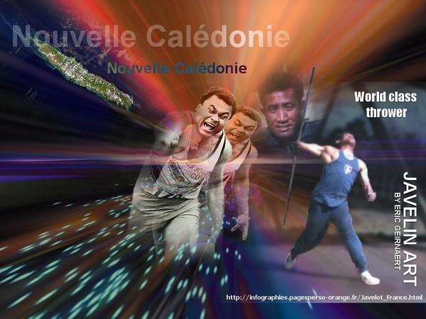 Nouvelle Calédonie, le Javelot : Roger Lakalaka au centre et Petelo Wakalina sur la droite de l'image