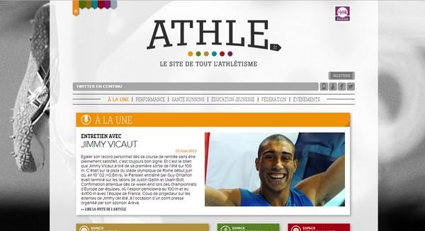 La nouvelle page d'accueil d'athle.fr avec le marque-page en haut à gauche pour accéder directement à chaque espace