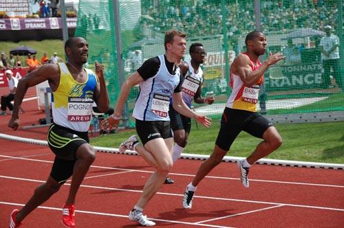 Mickael Zeze sur les traces de Christophe Lemaitre ? Ici lors des championnats de France Elite à Angers (2ème à droite) - Photo Culture Athle